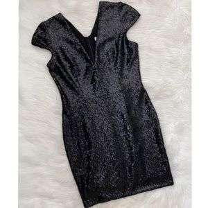 Dress The Population Black Sequin Cocktail Dress